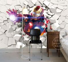 3D Iron Man Wallpaper Marvel Heroes photo wallpaper Custom Wall Murals Boys Kid Bedroom Art Room Decor Interior Design Avengers