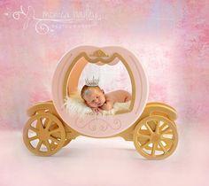 Newborn baby girl photoshoot photo shoot session ideas pose princess Cinderella carriage