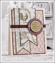 Dietrich Designs - shabby chic Rooster thank you card, using gold-embossed sentiment stamp from Lizzie Anne Designs; French country chic papers from Stampin' Up!; velvet and lace.