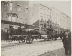 Gilded Age NYC Street Scene, Fire Department Truck, with snowy street.