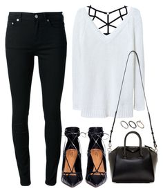 """""""Untitled #1534"""" by susannem ❤ liked on Polyvore featuring Zara, BLK DNM, Aquazzura, Givenchy, Orelia, women's clothing, women, female, woman and misses"""