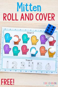Mitten Roll and Cover Mats - - This mitten roll and cover activity is perfect for winter literacy and math centers. This winter activity is a fun and engaging way to learn letter sounds and number sense. Preschool Math, Kindergarten Math, Fun Math, Preschool Winter, Preschool Ideas, Kids Learning Activities, Learning Letters, Fun Learning, Creative Curriculum