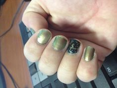 "Gold - opi ""just spotted the lizard"" Index finger - Deborah Lippmann ""cleopatra in New York"" over opi ""ski teal we drop"""