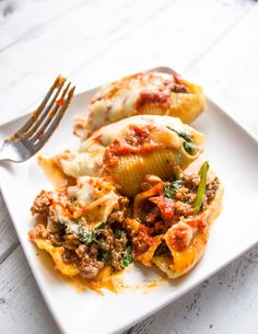 Spinach and Ground Beef Stuffed Shells
