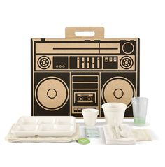 in an eco-friendly cardboard box with recycled, compostable utensils! comes in three designs.love the boombox and office date versions ; Modern Picnic Baskets, Picnic Box, Picnic Ideas, Picnic Time, Summer Picnic, Trash Bag, Utensil Set, Compost, Cute Gifts