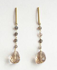brass earrings, labradorite and smoky quartz