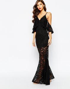 Jarlo μαύρο μάξι φόρεμα δαντελένιο και ριχτά μανίκια