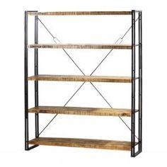 Deze Eleonora boekenkast is wat groter en heeft ook houten planken en een metalen frame.