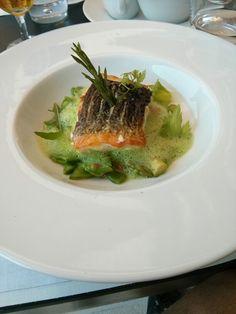Grilled salmon on green asparragus foam - Monte Carlo Beach Club - Monaco