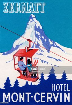 Vintage illustration of the Zermatt peak in Switzerland with a couple on a ski lift in the foreground; screen print, 1935.