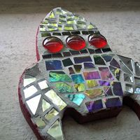 Mosaic Rocket Wall Hanging - Mirror and Stained Glass - 6 inches - FREE Shipping within the US