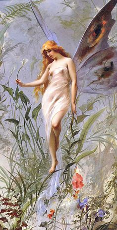 Classic representation of a small fairy with butterfly wings commonly used in modern times. Luis Ricardo Falero, 1888.