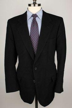 Norm Thompson Black 100% Cashmere 44 L mens Sport Coat Blazer
