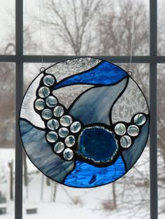 Blue Agate Stained Glass suncatcher by WildheartGlassDesign