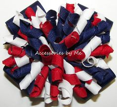 Fourth of July Patriotic Red White Blue Korker Hair Bow Curly Ribbon by accessoriesbyme