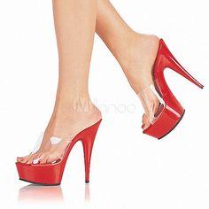 Zapatillas transparentes con plataforma de tacón alto para mujeres - Milanoo.com