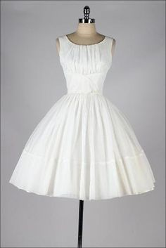 1950's White Chiffon Dress by leanne