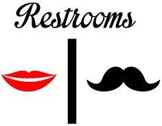 Bathroom Restrooms Sign Men Women Lips by VinylWallLettering