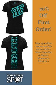 Women's short sleeve tee |KRUSH IT| $27.00| #yourfitnessspot #womensactivewear