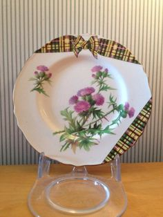 Vintage Royal Winton Scottish Thistle and Tartan Plate