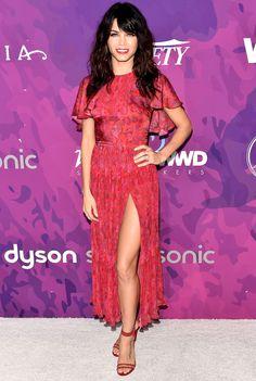 Jenna Dewan Tatum in a pink dress with flutter sleeves