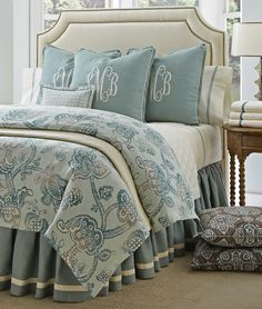 Comfortable pillows, monogram pillows, monogram bedroom, enchanted home, be Bedding Master Bedroom, Bedroom Decor, Master Bedrooms, Bedroom Ideas, Monogram Bedroom, Monogram Pillows, Comfortable Pillows, Luxury Bedding Sets, Cozy Bed