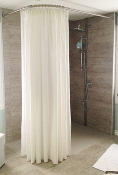 Paroi de douche italienne d 39 angle avec tringle et rideau - Rideau de douche sur mesure ...