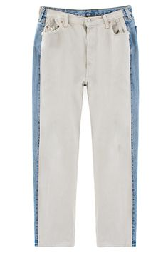 Pale blue denim side panel on white jeans