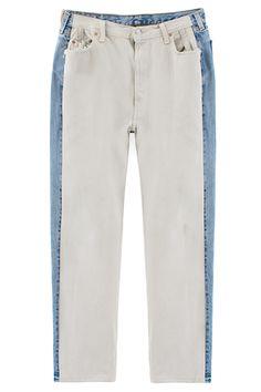 Pale blue denim side panel on white jeans