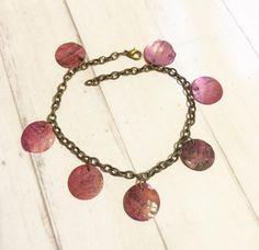 Antique Brass Purple Seashell Bracelet- Beach Style Bracelet- Summer Bracelet- Bohemian Jewelry- Boho Jewelry - Gypsy Jewelry