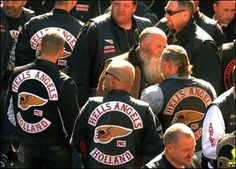 Hell's Angels ...  Probably the most well known American biker gang, The Hell's Angels have a long and thorough history on American highways. Much information concerning their origins is hazy due to their long-standing code of secrecy. Red lettering over white backgrounds stands for the club's colors. With so much popularity, Hell's Angels chapters have sprung up across the Untied States as well as Russia and New Zealand and the continents of North America, South America, Europe and…