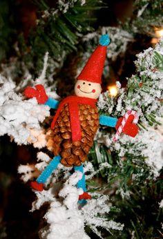 2013 red blue Christmas Pinecone Crafts, Christmas snowman Pinecone Crafts idea, 2013 Christmas Pine cone ornaments DIY #Pinecone #Crafts #For #2013 #Christmas www.loveitsomuch.com