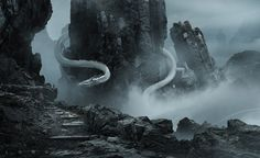 Long or Lung Dragons Found in the mountains of China, beyond where even the Chinese Fireball Dragon is willing to live, are the Long Dragons. Also called the Chinese Serpent Dragon, Long Dragons are remarkably long-lived and are much respected. Mythological Creatures, Fantasy Creatures, Mythical Creatures, High Fantasy, Fantasy World, Dragon Artwork, Fantasy Setting, Fantasy Dragon, Supernatural