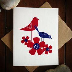 Illustrated Scandinavian Bird Note Card by jandersondesign on Etsy, $4.00