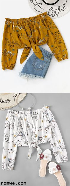 croptop formal Off Shoulder Floral Print Random Knot Hem Top Indian Fashion Dresses, Girls Fashion Clothes, Teen Fashion Outfits, Fashion Wear, Outfits For Teens, Trendy Summer Outfits, Cute Casual Outfits, Pretty Outfits, Stylish Outfits