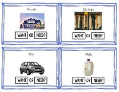 Wants Vs. Needs (Task Cards for Determining Wants and Needs ) | TpT