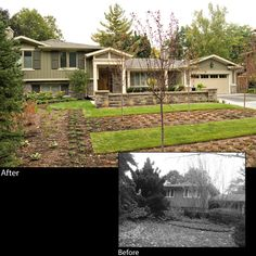 Side split renovation by David Small Designs www.davidsmalldesigns.com. This 1950's side-split was given an exterior upgrade while leaving all existing living spaces intact. #homerenovation #before