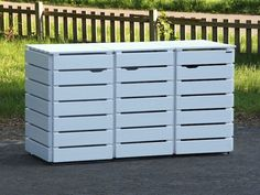 3er Mülltonnenbox Holz, Deckend Geölt Weiß
