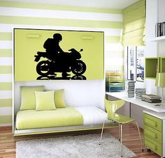 WALL VINYL STICKER DECALS ART MURAL BIKE CHOPPER MOTORCYCLE STUNT RACING M566