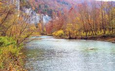 River, cliffs, and autumn trees - Buffalo National River, Arkansas