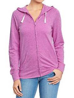 Women's Lightweight Zip Hoodies | Old Navy - Love these in all the neon colors (purple, green, peach, pink).