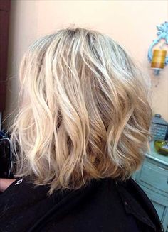Wavy Long Inverted Blonde Bob