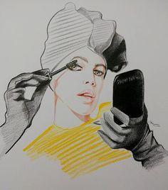 Kaia Gerber applying Marc Jacobs Beauty Velvet Noir Mascara, illustrated by Georgi Penev