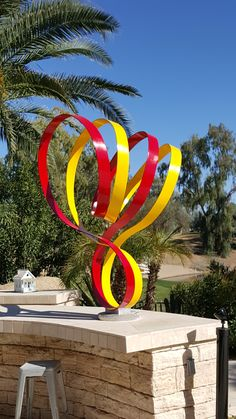 Double Ribbon sculpture painted aluminum  www.johnsearles.com  #abstractsculpture #sculpture #aluminumsculpture #heart