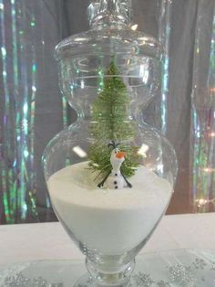 Olaf decoration at a Frozen birthday party! See more party planning ideas at CatchMyParty.com!