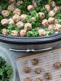 Skinny Slow Cooker Kale and Turkey Meatball Soup is a healthy version of Italian Wedding Soup