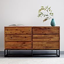 Reclaimed Wood + Lacquer Storage 6-Drawer Dresser, Reclaimed Pine ...