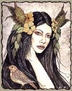 Rhiannon  Celtic (Welsh) Patron Goddess of horses and birds considered the counterpart of the Gaulish Goddess Epona. She symbolizes fertility, the moon, enchantment, charms, and poetic incantations.    Rhiannon gave birth to a baby boy, and while she slept, her nurses were supposed to watch over the child. But they failed in the task, and the child was mysteriously abducted during the night. Before Rhiannon awoke, the nurses found that the baby had disappeared, and fearing revenge, they smea...