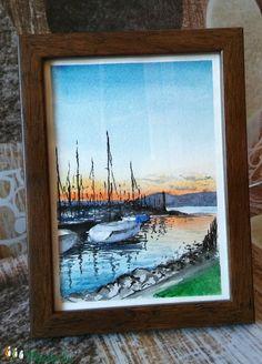 Nyarat idéző balatoni pillanat, ez a naplementés akvarell kép. Kitűnő ajándék szeretteinknek, barátainknak, akik szeretik a magyar tengert :) Ajándékba készült, emiatt 1 hét az elkészítési ideje.   Nagysága 13*18 cm. A festmény Hahnemühle akvarellpapírra készült vízfestékkel. Techno, Painting, Art, Art Background, Painting Art, Kunst, Paintings, Gcse Art
