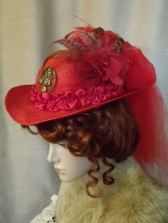 Steampunk Hat Ladies' Upcycled Red Straw by FancyThatLLC on Etsy